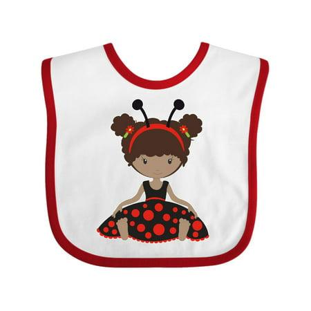 Ethnic Ladybug Girl in Black Dress Baby Bib White/Red One Size](Baby Girl Ladybug Dress)