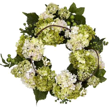 "Nearly Natural 22"" Hydrangea Wreath, Cream/Green"