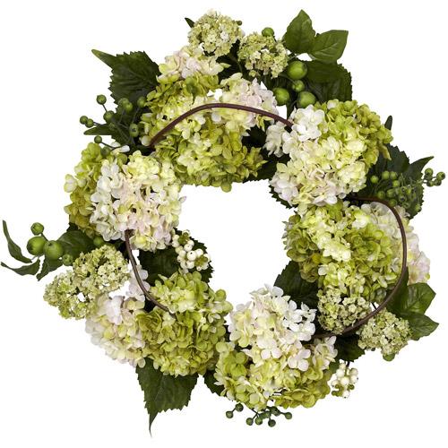 "Nearly Natural 22"" Hydrangea Wreath, Cream/Green"