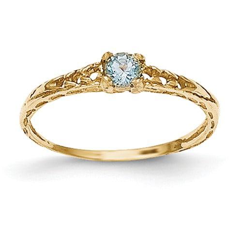 14k Yellow Gold 3mm Aquamarine Birthstone Baby Ring.