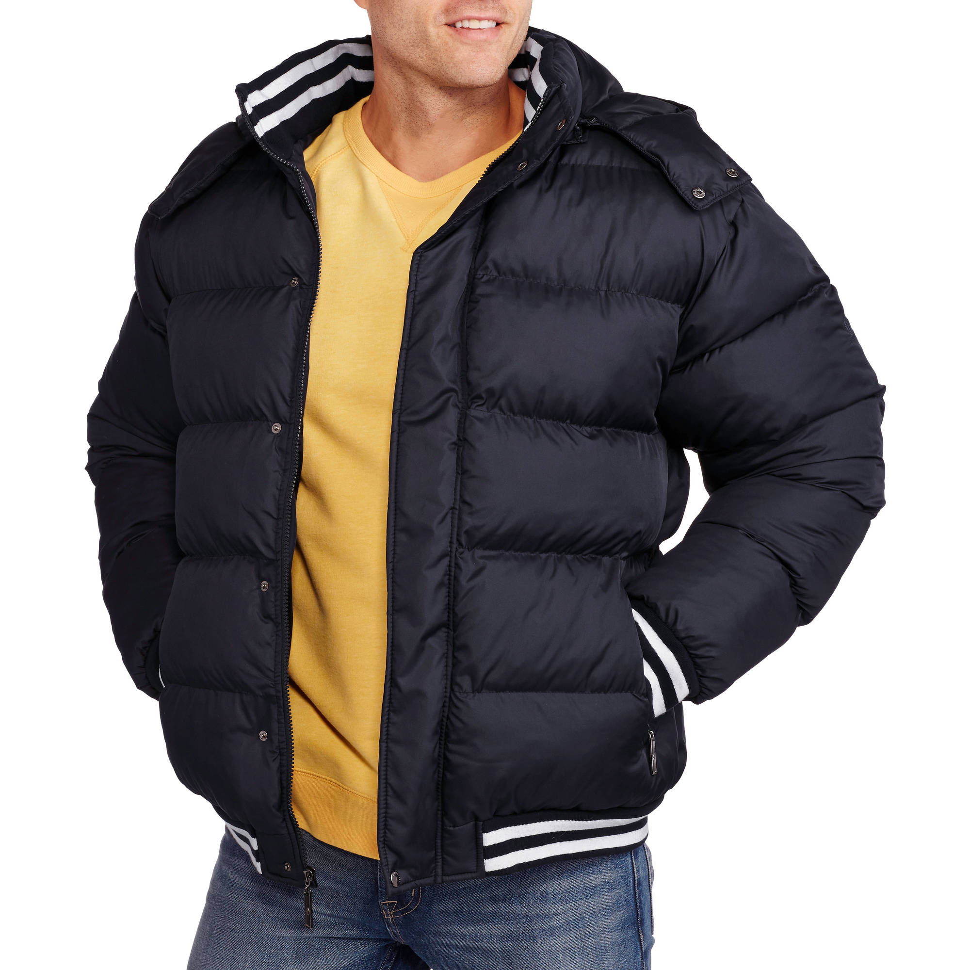 Big Men's Bubble Bomber Jacket with Removable Hood