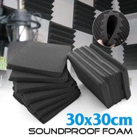"24-Pack 12"" x 12"" x 1"" Black Acoustic Wedge Acoustical treatment Soundproofing Studio Foam Wall Tiles For Studio Ktv Recording"