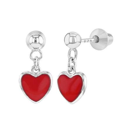 925 Sterling Silver Red Enamel Heart Screw Back Dangle Earrings Girls Teens