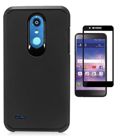 LG K30 Case, Phone Case for LG Premier Pro L413DG, L413DL (Tracfone, Total Wireless), Hybrid Shockproof Hard Cover Protective Case with Tempered Glass Screen Protector (Black)