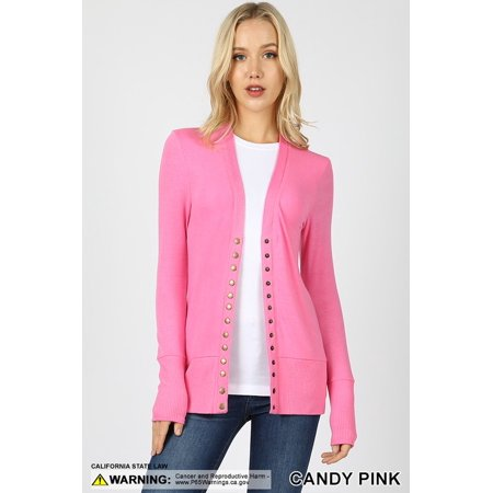 Long Sleeve Snap Button Sweater Cardigan w/ Ribbed (Ribbed Crewneck Sweater)