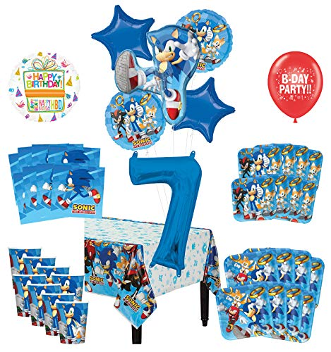 Mayflower Products Sonic The Hedgehog 7th Birthday Party Supplies 8 Guest Decoration Kit and Balloon Bouquet
