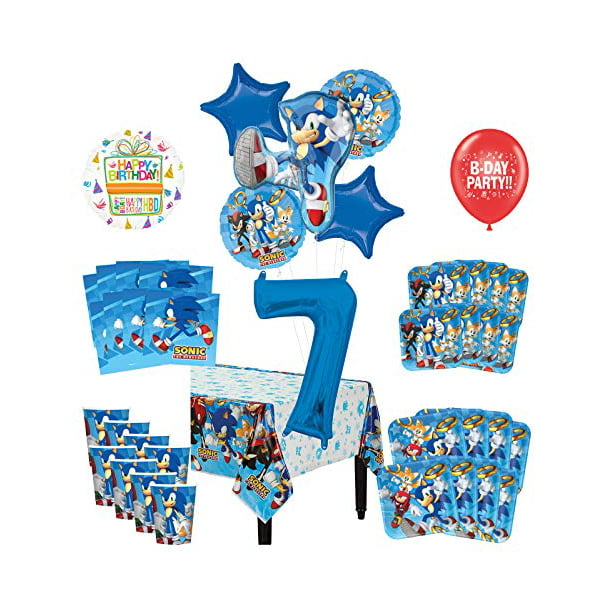 Mayflower Products Sonic The Hedgehog 7th Birthday Party Supplies 8 Guest Decoration Kit And Balloon Bouquet Walmart Com Walmart Com
