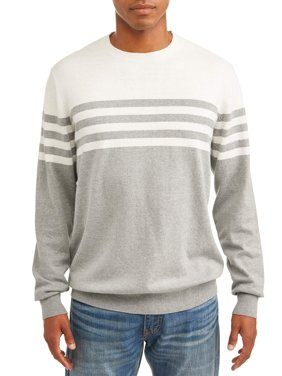George Men's Striped Pullover Sweatshirt, up to size 3XL