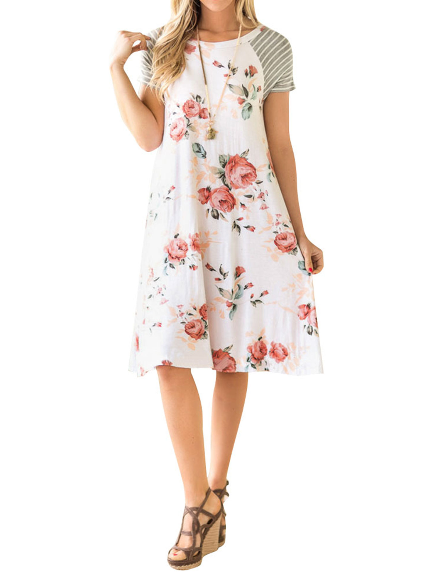 Nlife Women Striped Sleeve Floral Print A-line T-shirt Dress