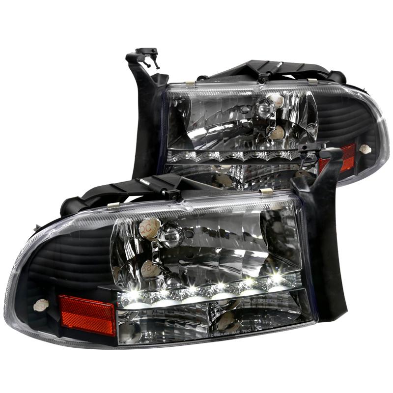 Black 1997-2004 Dodge Dakota Durango LED Strip Headlights Head Lamps Left+Right