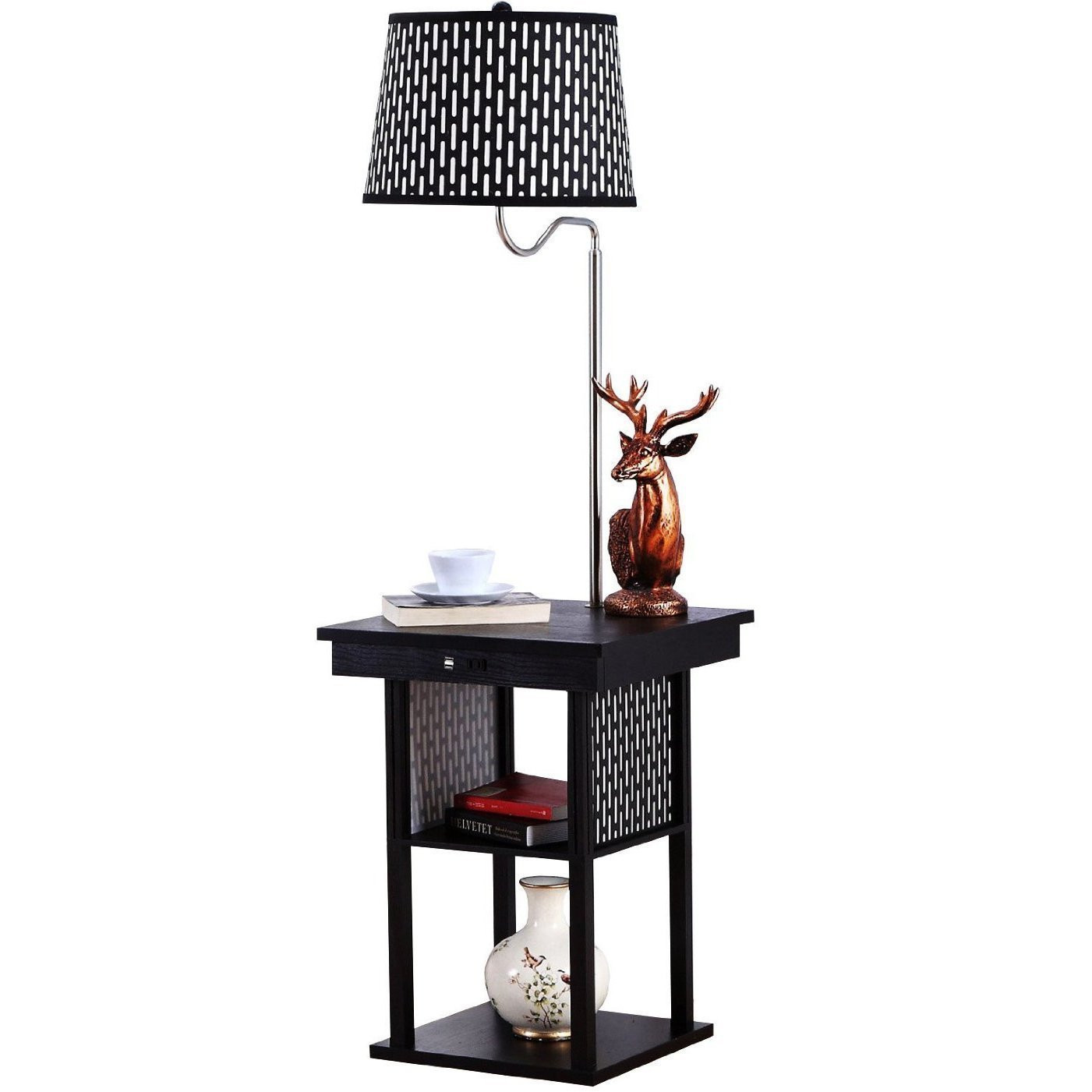 Brightech   Madison Floor Lamp With Built In Two Tier Black Table With Open  Display Space   Outfitted With ...