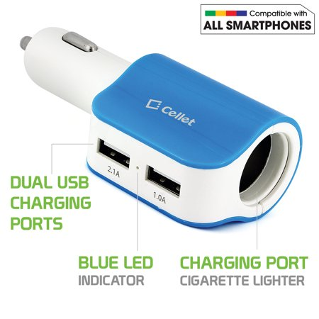 Cellet Universal High Power 12 Watt / 3.1 Amps Dual USB Car Charger - Blue/White