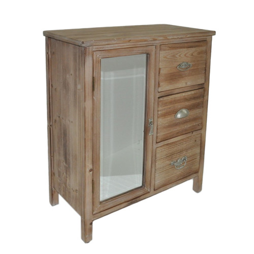 Wood Cabinet with Three Drawers