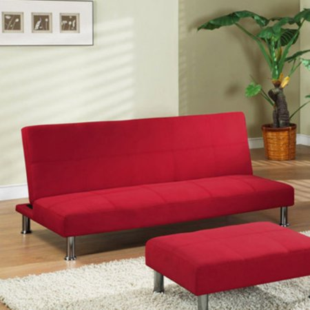 InRoom Designs Klik-Klak Convertible Sofa - Red with Metal Frame (Outdoor Fabric Futon)