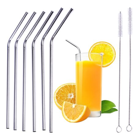 Okeba 6Pcs 8 5  Reusable Stainless Steel Bend Drinking Straws For 20Oz Yeti Tumbler Rtic