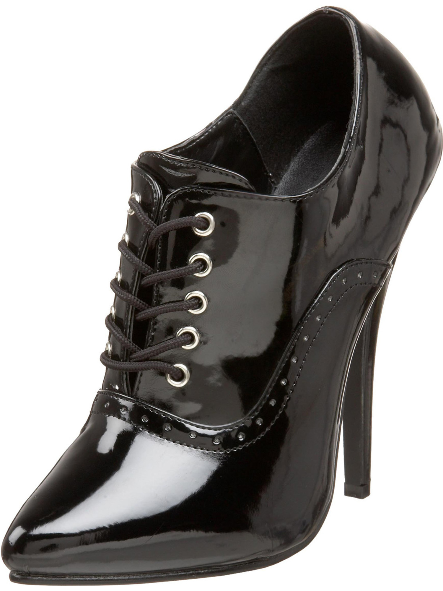 Black Patent Oxford High Heels with Single Sole and 6 Inch Heels