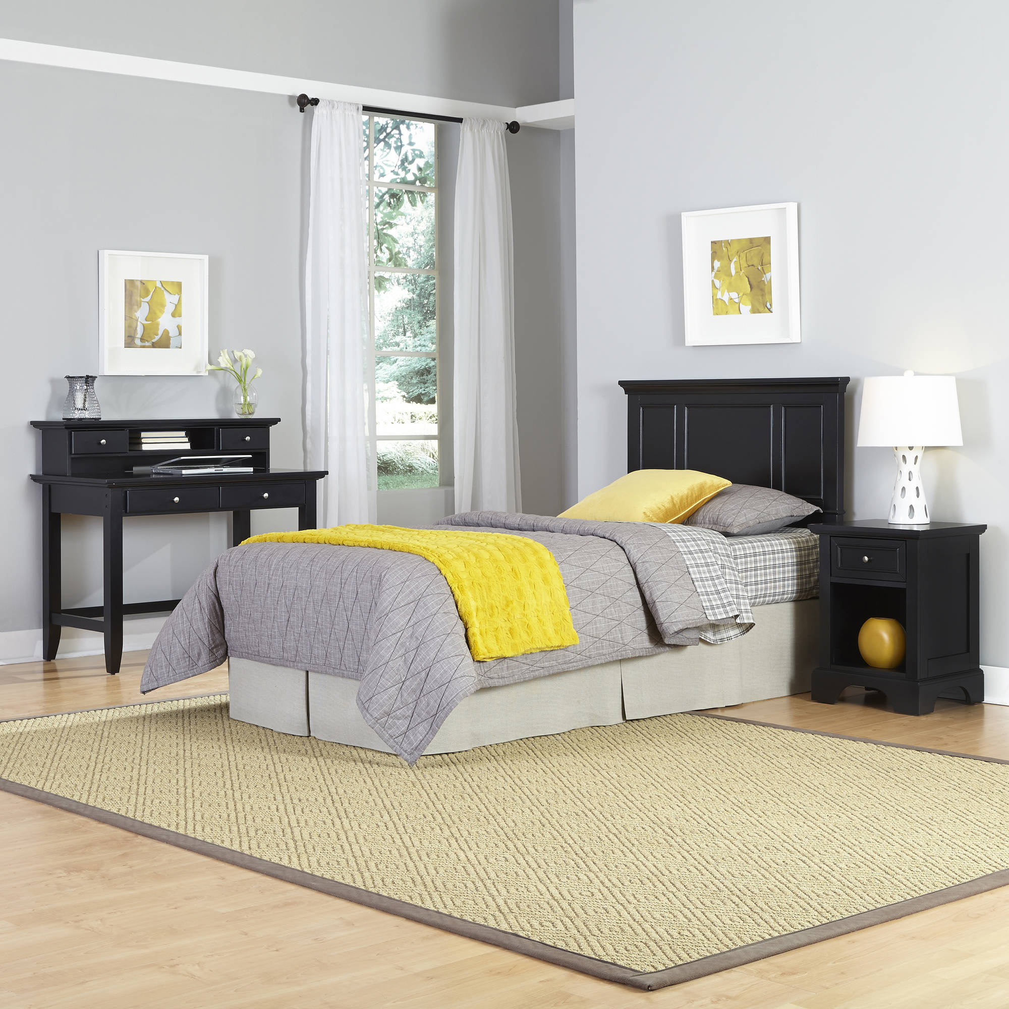 Home Styles Bedford Twin Headboard, Night Stand and Student Desk with Hutch
