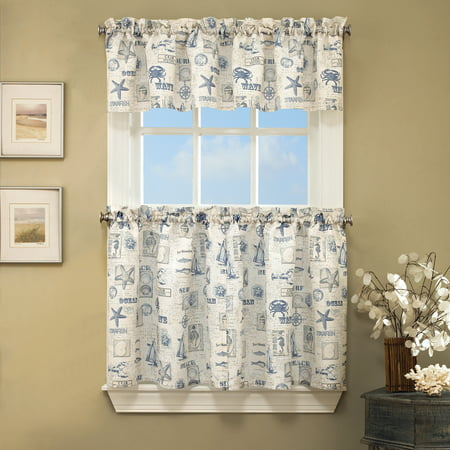 By The Sea Printed Ocean Beach Images Kitchen Curtains 24 36 Tier Pair