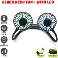 MINIMAX Portable Rechargeable Necklace Fan - Hands Free Neck Fan, Bendable, 3 Speeds, 360 Degrees Rotation, for Outdoor, hikes, Menopause Hot Flashes, Fishing, Beach, 8 Hrs Battery (Black Led Fan)