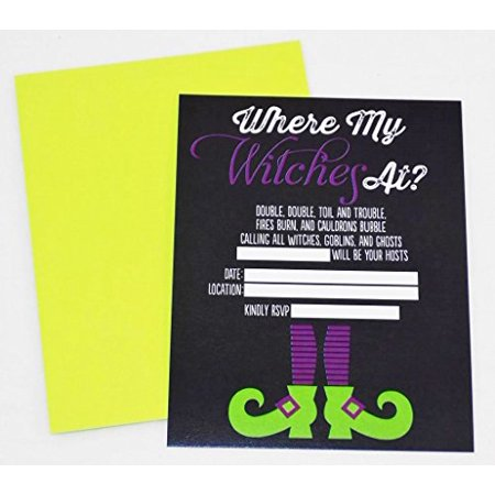 Where My Witches At? Halloween Party Invitations with Lime Green - Lime Green Halloween Lights