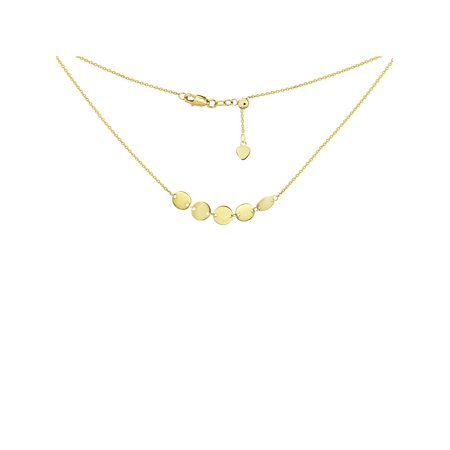 Choker Necklace with Disks Chain 14k Yellow Gold - (14k Yellow Gold Disc)