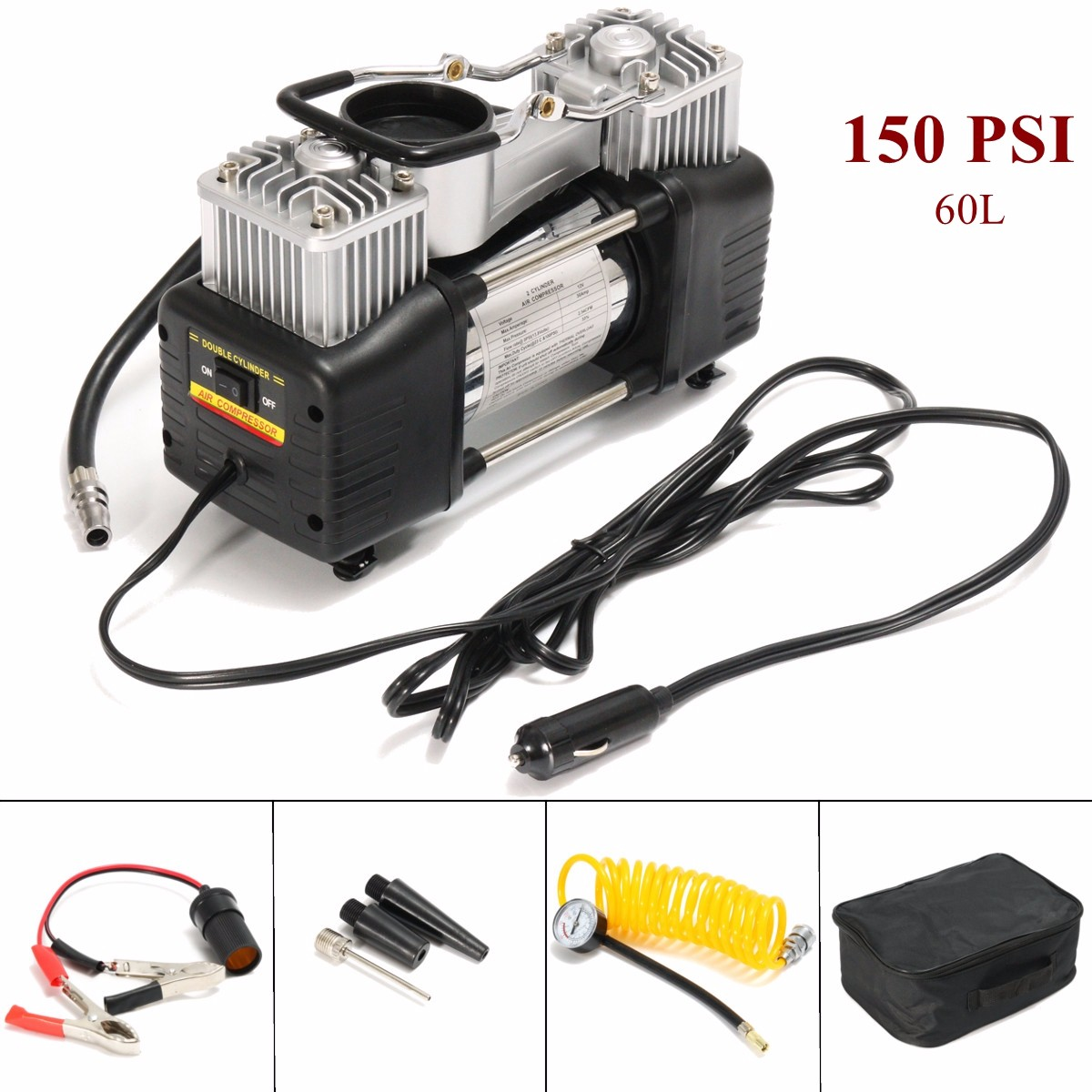 12V Portable Air Compressor Car Tyre Auto Tire Inflator 150PSI Double cylinder