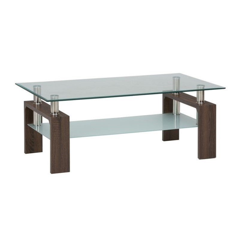 Jofran Compass Glass Rectangle Coffee Table In Chrome And Wood   Walmart.com