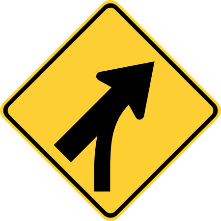 Traffic Signs - Merging traffic 12 x 18 Peel-n-Stick Sign Street Weather Approved Sign