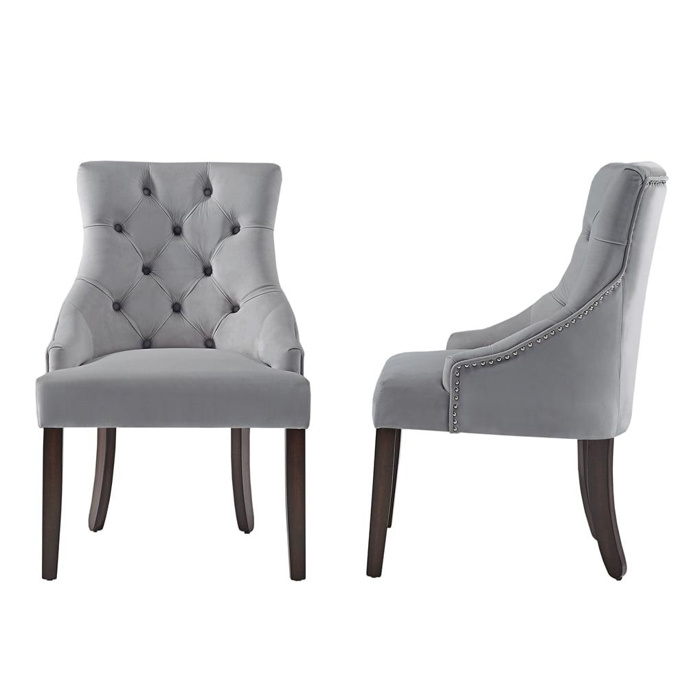 Chelsea Lane Curved Back Velvet Tufted Dining Chair, Set of 2, Multiple Colors