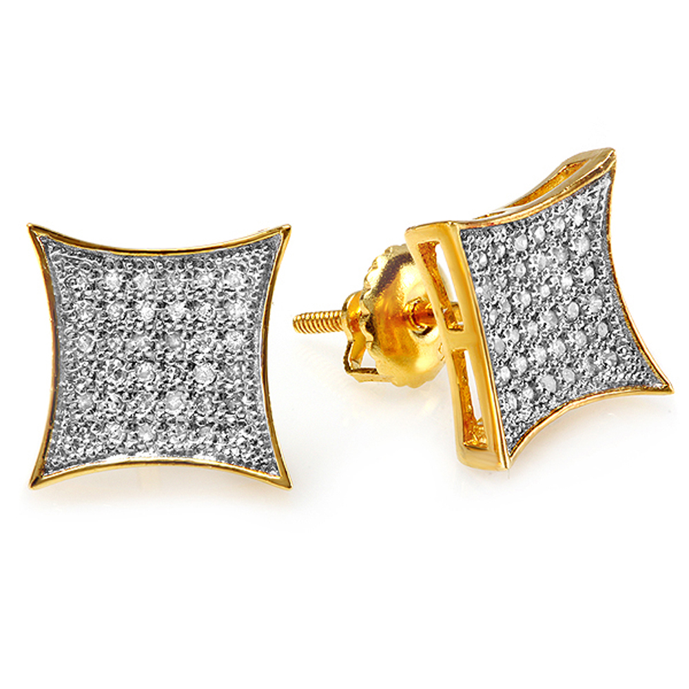 0.15 Carat (ctw) 18K Yellow Gold Plated Sterling Silver Round White Diamond Kite Shape Mens Hip Hop Iced Stud Earrings