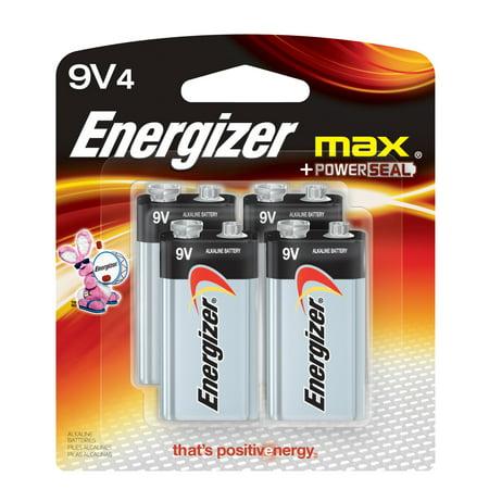 Energizer MAX Alkaline, 9V Batteries, 4 Pack