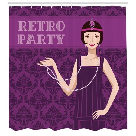 Pin up Girl Shower Curtain, 20s Style Short Hair Flapper Girl with Necklace and Hair Band, Fabric Bathroom Set with Hooks, 69W X 84L Inches Extra Long, Pale Peach Purple - 20s Hair