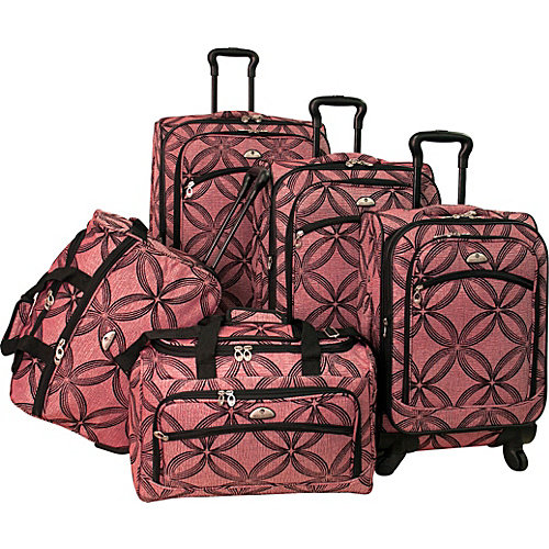 American Flyer Silver Clover 5 Piece Spinner Luggage Set