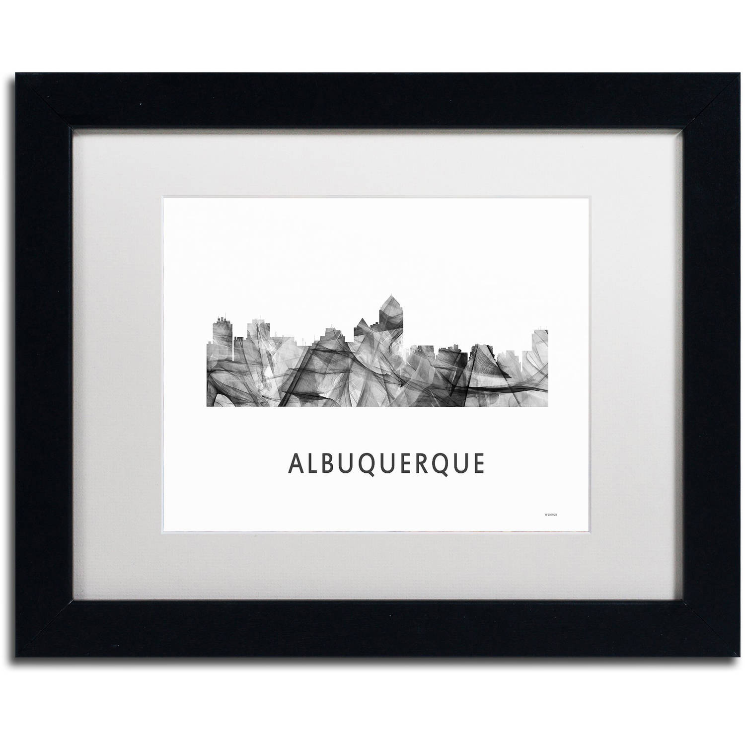 Trademark Fine Art 'Albuquerque NM Skyline WB-BW' Canvas Art by Marlene Watson, White Matte, Black Frame
