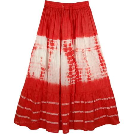 Maxi Tie Dye Hippie Skirt in Red