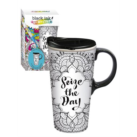 Cypress Home Seize the Day Coloring Book Ceramic Travel Coffee Mug, 17 ounces (Attitude Ceramic Travel Mug)
