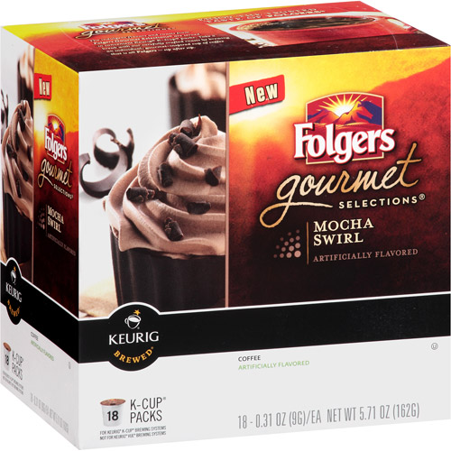 Folgers Gourmet Selections Mocha Swirl Coffee K-Cup Packs, 0.31 oz, 18 count