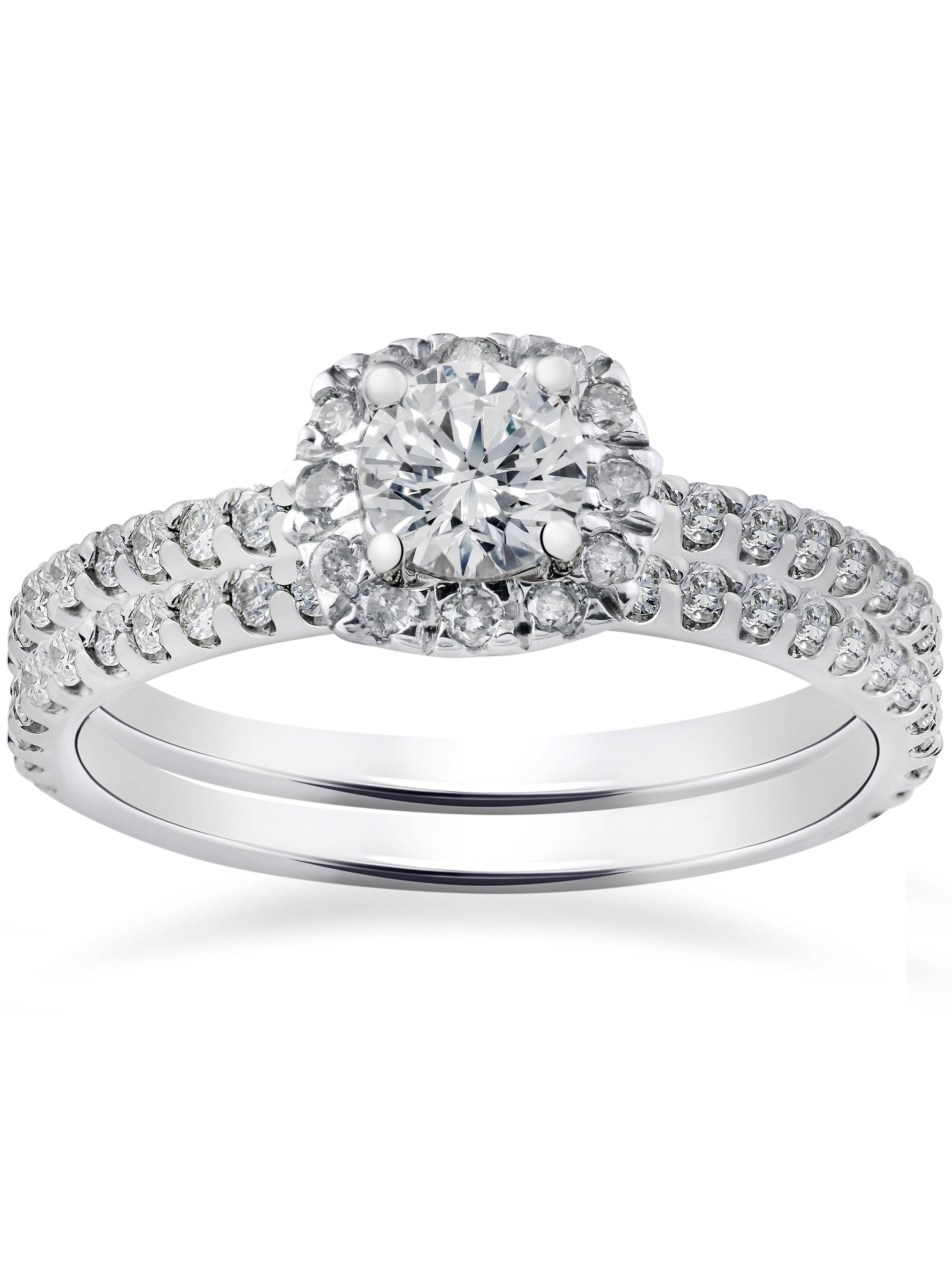 1ct Cushion Halo Diamond Engagement Wedding Ring Set 14K White Gold