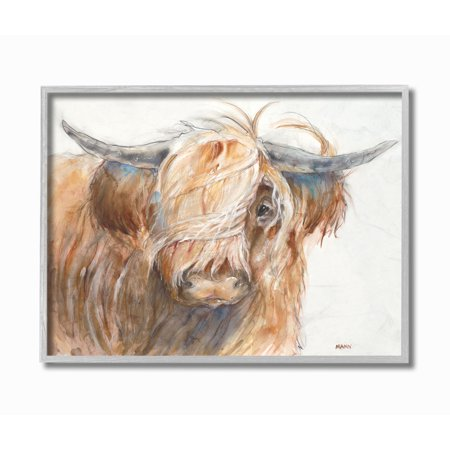 The Stupell Home Decor Brown Horned Bull with Wind Swept Long Hair Painting Gray Framed Texturized Art