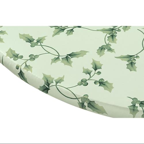 """Miles Kimball 40"""" - 44"""" dia. Round  Hollyberries Elasticized Vinyl Table Cover"""