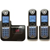 Panasonic Kx Tg6843b Cordless Phone Answering System With Caller Id Call Waiting Dect 6 0 Plus 4 Way Call Capability Black 2 Additional Handsets Walmart Com Walmart Com