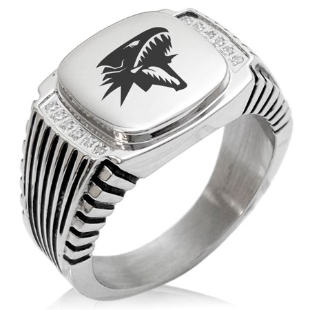 - Yu-Gi-Oh! Blue-Eyes White Dragon Stainless Steel CZ Ribbed Needle Stripe Pattern Biker Style Polished Ring