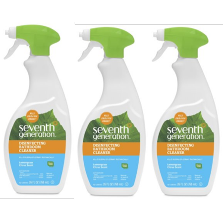 (3 Pack) Seventh Generation Disinfecting Bathroom Cleaner Lemongrass Citrus 26 -