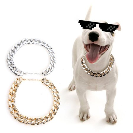 Stainless Steel Pet Dog Curb Cuban Chain Collar Necklace For Pitbull