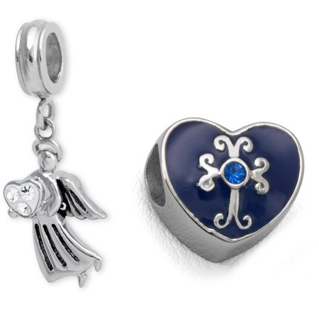 Stainless Steel Blue Enamel Heard And Angel Charm Set - Angel Charms