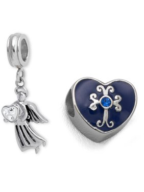 Stainless Steel Blue Enamel Heard And Angel Charm Set