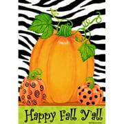 Happy Fall Y All Pumpkin Polka Dot Zebra Stripes Garden Flag 12 x 18