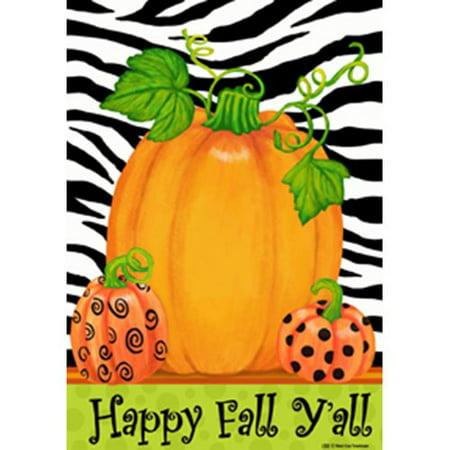 Happy Fall Y All Pumpkin Polka Dot Zebra Stripes Garden Flag 12 x 18 (Fall Dots)