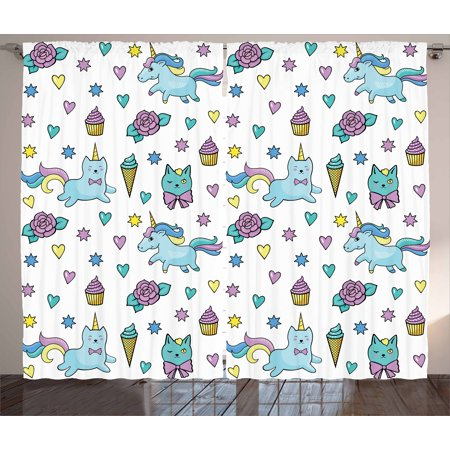 Unicorn Cat Curtains 2 Panels Set, Girls Pattern with Hearts Stars Flowers Ice Cream Cute Funny, Window Drapes for Living Room Bedroom, 108W X 63L Inches, Pale Blue Lavender Yellow, by Ambesonne (Unicorn Flowers)