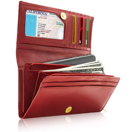 - Genuine Leather Accordion Clutch Wallets For Women - Organizer With Coin Purse And ID Window RFID Blocking